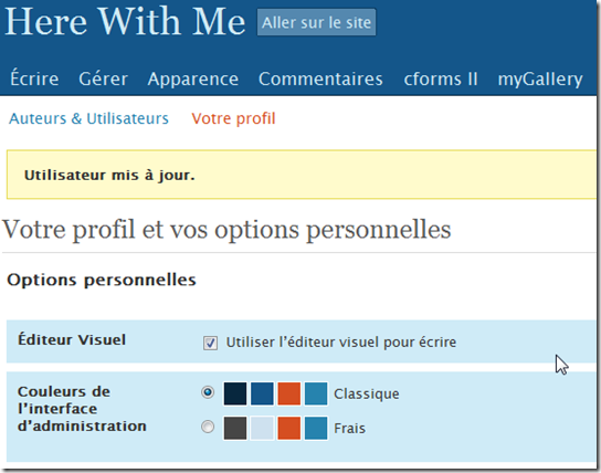 Couleur de l'interface WordPress 2.5