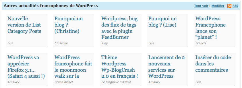 Tableau de bord WordPress - Planet FR