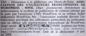 Déclaration de l'association WPFR