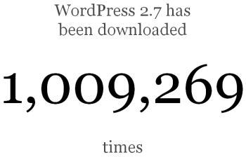 1 million de téléchargements pour WordPress 2.7