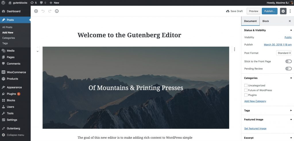 L'éditeur Gutenberg pour WordPress 5.0